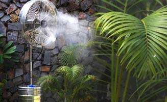 Outdoor Cooling Solutions - Low Pressure Mist Fans, High